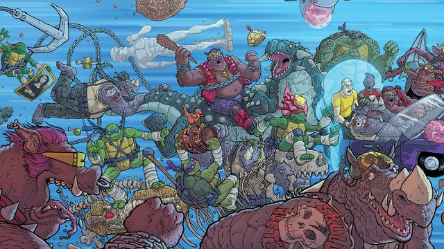Full cover art for Bebop & Rocksteady Destroy Everything. Image Source: IDW.