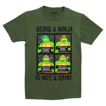Ninja Turtles Mug Shots Forest Green  Adult T-Shirt