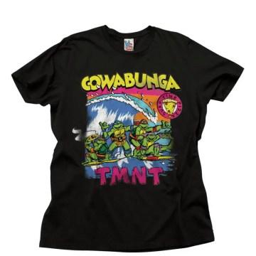 Junkfood Black Cowabunga Surfing Pizza Time T-Shirt