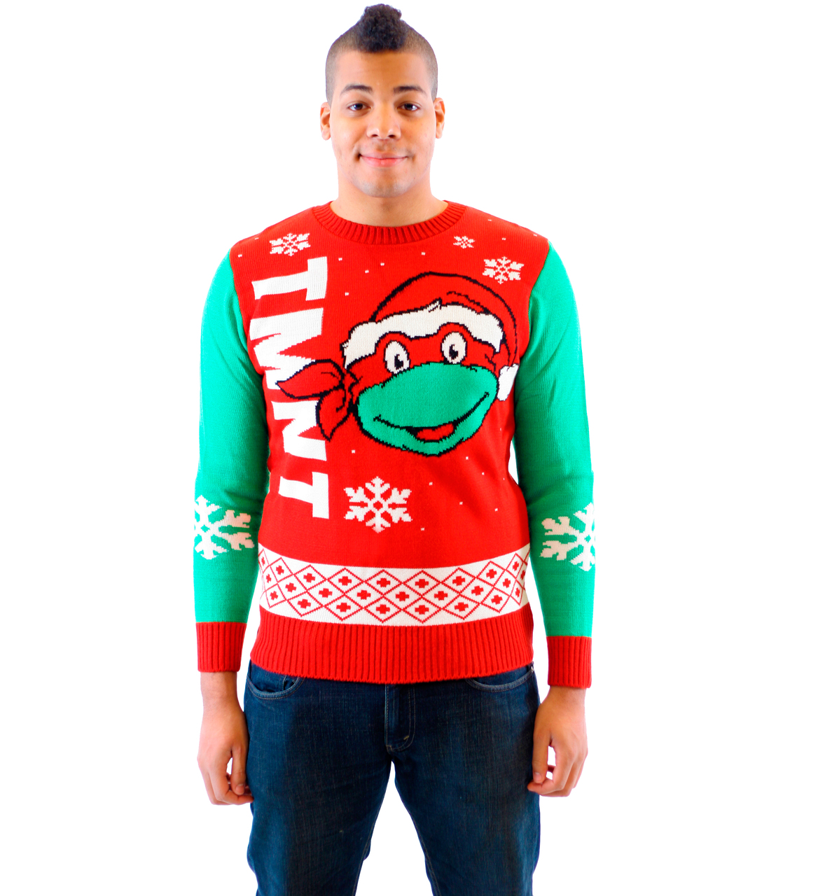Ninja Turtles Big Turtle Face Ugly Christmas Sweater