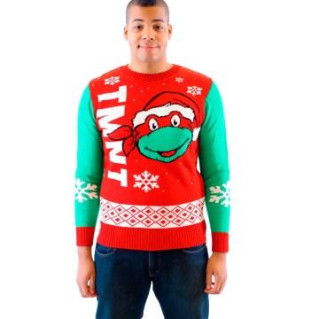 Ninja Turtles Big Turtle Face Ugly Christmas Sweater