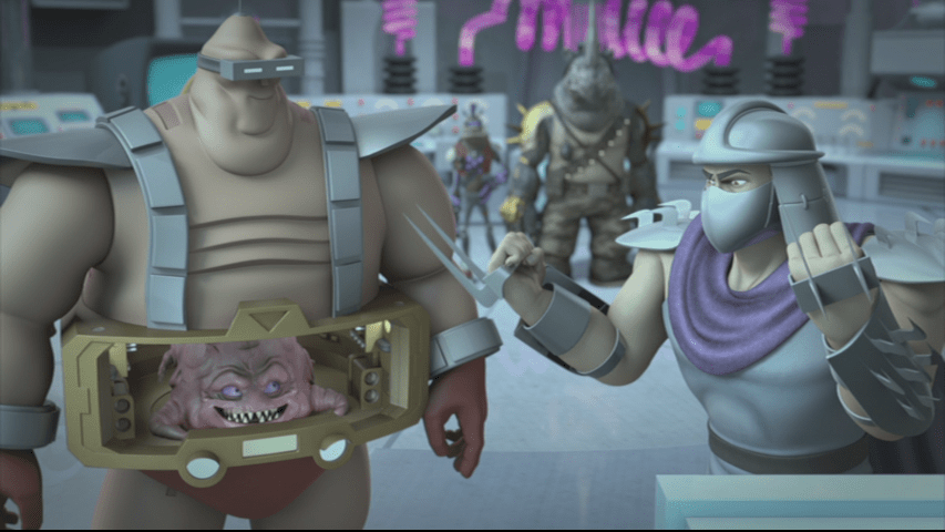 Even in another dimension, Shredder and Krang still plot the destruction of our favorite heroes in a half shell. Image Source: Paramount Home Video, Nickelodeon.