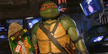 Take a close look at that skateboard for a reference to Turtles in Time. Image Source: Warner Bros. Interactive.