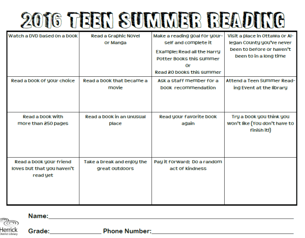 Summer Reading 2016 Chart Idea