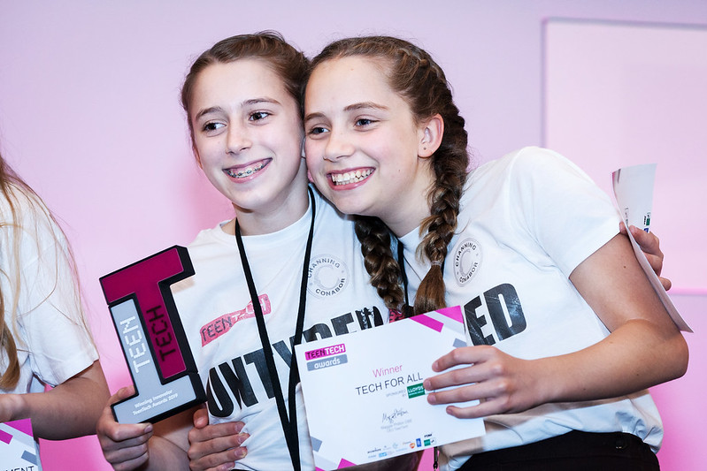 Two students winning at the TeenTech Awards 2020