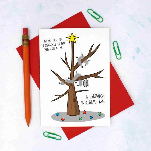 12 Days of Christmas, Christmas Tree Card, Card for IT Lover, Funny Christmas Card, TeePee Creations, Confetti Card, Technology Lover, Pun Christmas Card, Partridge Pear Tree, Christmas Card Set, Christmas Card Pack, 1st Day of Xmas, Funny Holidays Card