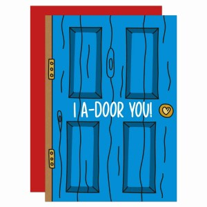 """Blue door illustration greetings card with phrase """"I A-door You!"""" on the front."""