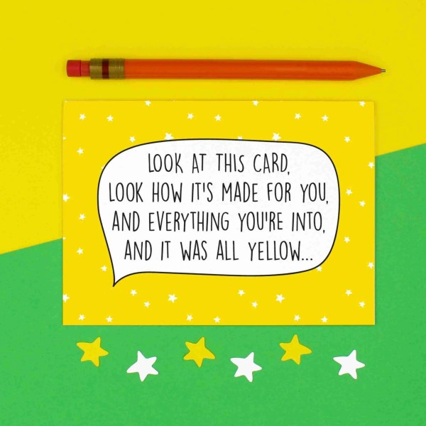 Coldplay Pun Card, All Yellow Lyrics, All Yellow Pun Card, Graduation Card, Funny Birthday Card, Anniversary Card, Fun Wedding Card, Chris Martin Card, Card for Music Lover, TePe Creations, Confetti Card, Blank Card, Any Occasion Card