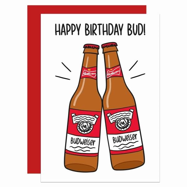 Cute Birthday Card Funny Greetings Beer Illustration Best Friend Gift Confetti TeePee Creations Bud Pal Mate Party Animal Present Bottle Drawing Cheers Joke Husband Boyfriend For Him Grandad Dad