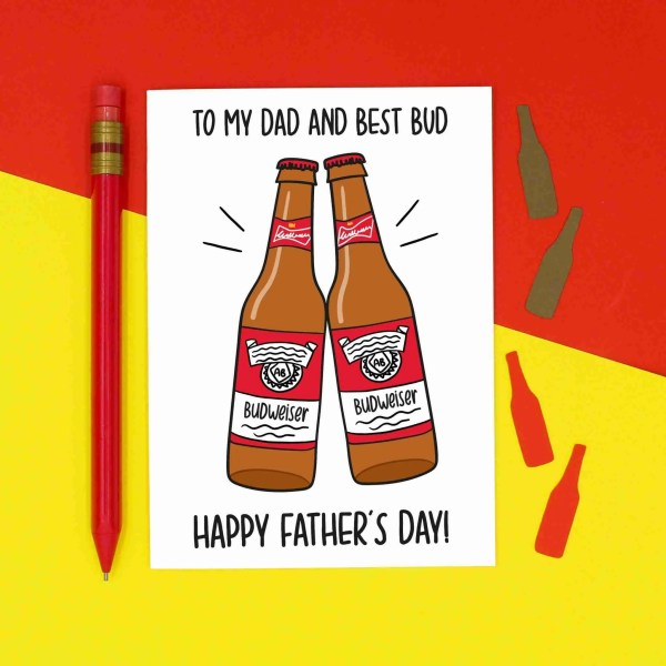 """White greetings card with 2 beer bottle illustrations and the phrase """"To My Dad and Best Bud Happy Father's Day!"""""""