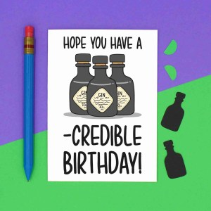 TeePee Creations Confetti Card Funny Gin Lover Birthday Blank Incredible Day Great Cute Drinks Pun Bday Friends Gift Present Mum Dad Cocktail