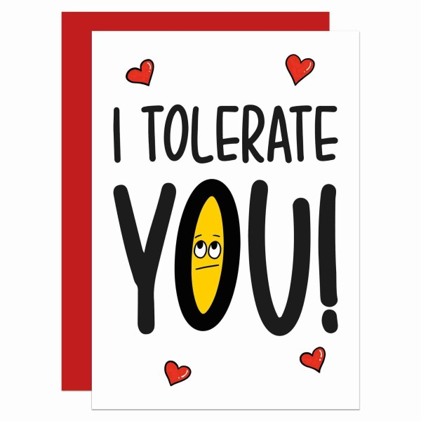 Funny Anniversary, TePe Creations, Confetti Card, Sarcastic Card, Funny Pun Card, Cheeky Card, Rude Card, Rolling Eyes Emoji, Straight Talking, Valentines Day Card, I Tolerate You Card, Fun Love Card, Card for Other Half