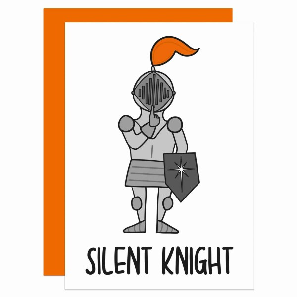 """Christmas greetings card with knight illustration and the phrase """"Silent Knight"""""""
