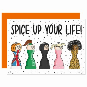 """Black and white polka dot card with Spice Girls pepper shaker illustration and the phrase """"Spice Up Your Life!"""""""