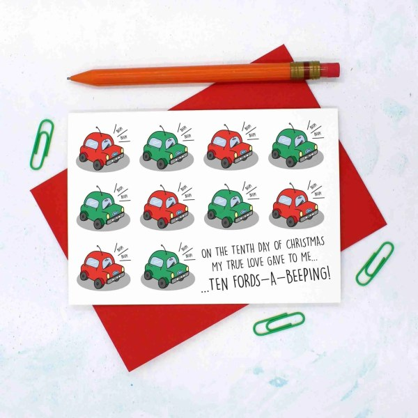 12 Days of Christmas, Car Pun Card, Ford Car Card, Funny Christmas Card, TeePee Creations, Confetti Card, Pass Driving Test, Card for Driver, 10 Lords a Leaping, Christmas Card Set, Christmas Card Pack, 10th Day of Xmas, Funny Holidays Card