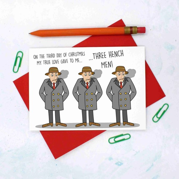 12 Days of Christmas, Card for Bouncer, Mens Christmas Card, Funny Christmas Card, TeePee Creations, Confetti Card, Gangsta Christmas, Card for Boyfriend, 3 French Hens, Christmas Card Set, Christmas Card Pack, 3rd Day of Xmas, Funny Holidays Card
