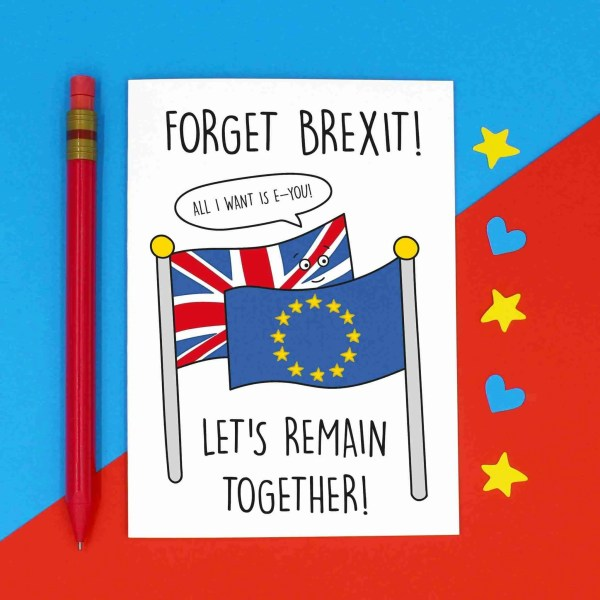 Anniversary Card, Funny Pun Card, TeePee Creations, Confetti Card, Valentines Day Card, Funny Brexit Card, Political Joke Card, Theresa May Card, European Union Card, EU Love Card, Topical Card, Boris Johnson Card, Jeremy Hunt Card