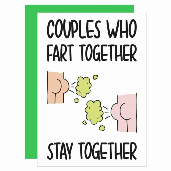Funny Pun Card, TeePee Creations, Confetti Card, Anniversary Card, Valentines Day Card, Farting Couples Card, Card for Partner, Rude Love Card, Anti Valentines Card, Card for Husband, Card for Wife, Card for Girlfriend, Card for Boyfriend