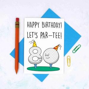 Funny Birthday Card, 80th Birthday Card, Card for Golf Lover, Lets Party Card, Pun Golf Card, TeePee Creations, Milestone Birthday, Card for Dad, Card for Grandad, Numbered Card, Confetti Card, Golfers Card, Male Birthday Card