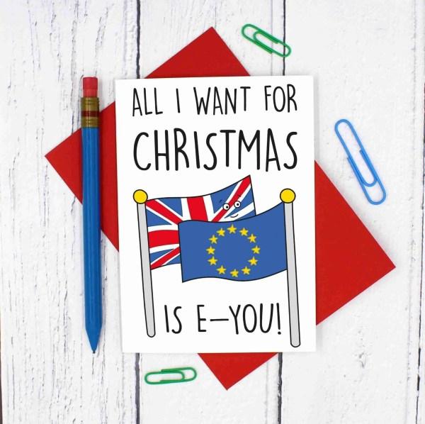 Brexit Christmas, Funny Christmas Card, Brexit Pun Card, TeePee Creations, Christmas Joke Card, Christmas Cracker, Theresa May Card, Boris Johnson Card, Funny Holidays Card, EU Joke Card, European Union, Confetti Card, Political Christmas