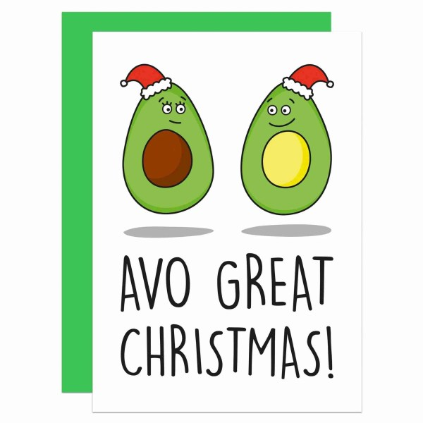 Funny Christmas Card, Avocado Pun Card, Card for Vegan, Card for Vegetarian, Card for Millennial, Avocado Lover Card, Cute Christmas Card, TeePee Creations, Confetti Card, Funny Pun Card, Have a Great Day, Food Lover Card, Food Pun Card