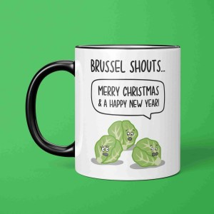 Brussel Shouts Mug, Funny Christmas Gift, Brussel Sprouts Pun, TeePee Creations, Christmas Joke Gift, Christmas Present, Food Pun Mug, Food Lover Gift, Funny Holidays Gift, Gift for Vegan, Gift for Vegetarian, Shout Pun Present, Christmas Song Mug