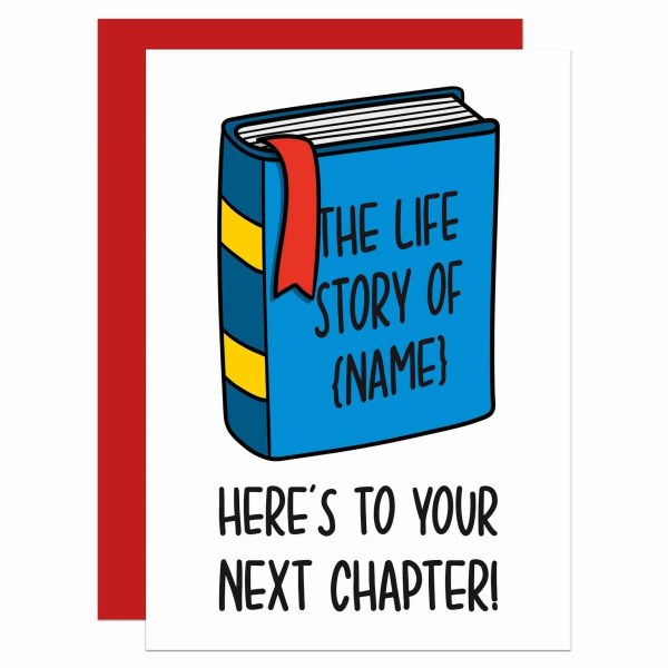 """Greetings card with book illustration and the phrase """"Here's to the next chapter!"""" on the"""