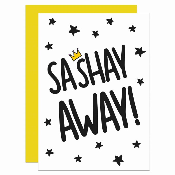 Leaving Card, Funny Pun Card, Card for Diva, Yas Queen Card, Sashay Away Card, TePe Creations, Confetti Card, Funny New Job Card, Congratulations Card, Blank Greetings Card, New Home Card, Moving Away Card, Ru Pauls Drag Race