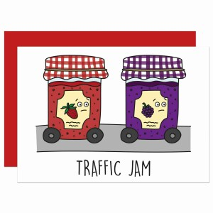 Jam Pun Card, Funny Pun Card, Tee Pee Creations, Confetti Card, Driving Test Card, Congratulations Card, Strawberry Jam Pun, Fun Blank Card, Food Lover Card, Blackberry Jam Pun, Traffic Jam Pun, Card for Chef, Funny Birthday Card