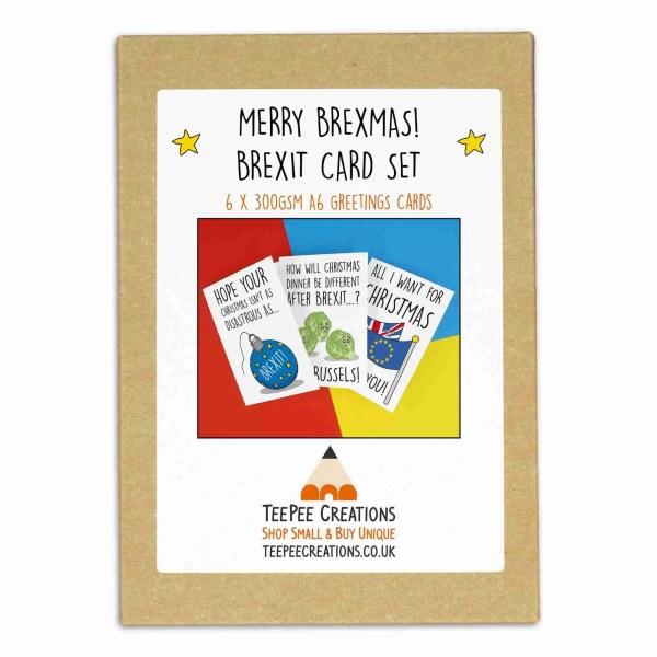 TeePee Creations, Pun Christmas Cards, Christmas Card Set, Christmas Card Pack, Funny Holidays Cards, Political Christmas, Brexit Christmas, Brussel Sprouts Pun, Christmas Satire, Topical Christmas, All I Want Is You, Disaster Christmas, Boris Johnson Card