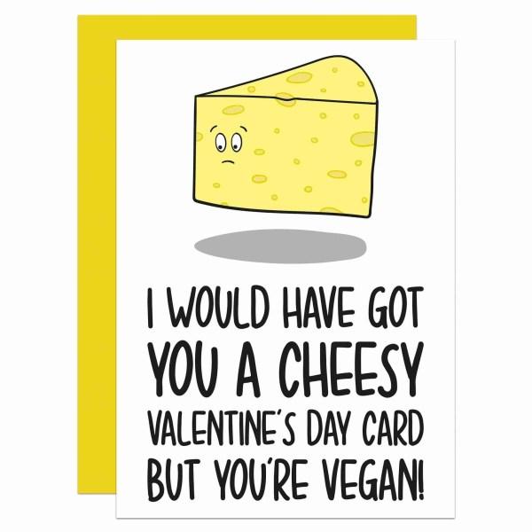 TeePee Creations Valentines Day Card Confetti Cheesy Love Funny Boyfriend Girlfriend Dairy Cheese Rude Pun Joke Illustration Vegan Meat Free