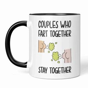 Funny Pun Mug Couples Who Valentines Day Anniversary Gift Farting Fart Trump Pump Rude Love Goals Anti Cheeky Girlfriend Boyfriend Husband Wife Joke Illustration Bum Fun Long Term Relationship