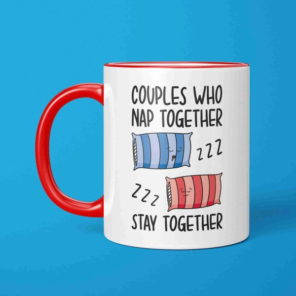 Funny Pun Mug Couples Who Valentines Day Gift Anniversary Napping Snoring Goals Nap Together Sleep Drooling Boyfriend Girlfriend Husband Wife Bed Present Joke Illustration Drool Bed Long Term