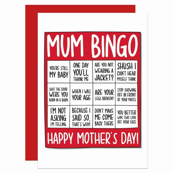 Mothers Day Card Confetti Funny Mum TeePee Creations Bingo Typical Phrases Stereotypical Quotes Born Barn Age Child Nagging Joke Stepmum Fun Illustration