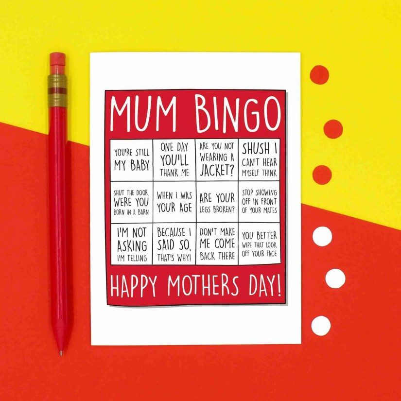 Mothers Day Card, Confetti Card, Funny Card for Mum, TeePee Creations, Bingo Mum Card, Typical Mum Phrases, Stereotypical Quotes, Born In A Barn, When I Was Your Age, Card from Child, Bingo Lover Card, Nagging Mum Card, Joke Mum Card