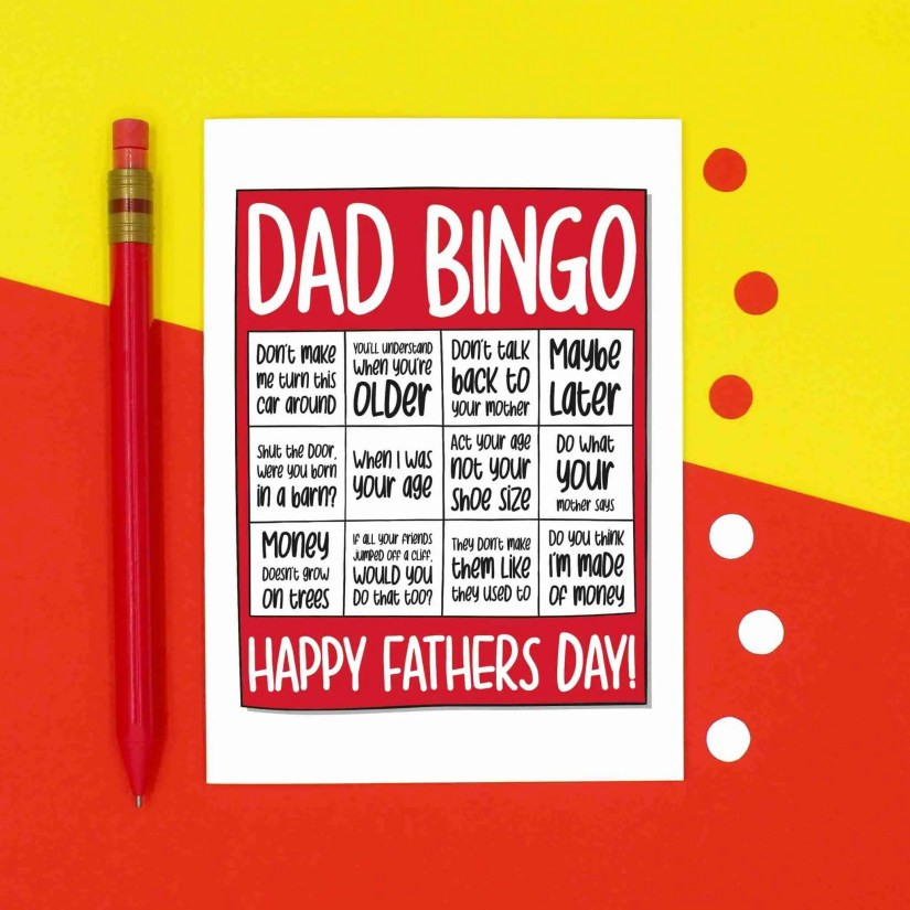Fathers Day Card, Confetti Card, Funny Card for Dad, TeePee Creations, Bingo Dad Card, Typical Dad Phrases, Stereotypical Quotes, Born In A Barn, When I Was Your Age, Card from Child, Bingo Lover Card, Nagging Dad Card, Dad Jokes Card
