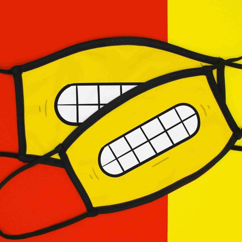 Emoji Face Mask, Awkward Emoji, Teeth Emoji Mask, Funny Face Mask, Face Covering, TeePee Creations, Yellow Face Mask, Lockdown Present, Quarantine Gift, Happy Face, Emotion Illustration, Smile Face Mask, Cheeky Mask
