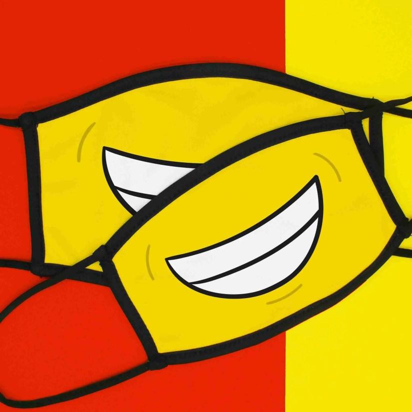 Emoji Face Mask, Smile Emoji, Grin Emoji, Funny Face Mask, Face Covering, TeePee Creations, Yellow Face Mask, Lockdown Present, Quarantine Gift, Happy Emoji, Emotion Illustration, Beaming Emoji, Cheeky Mask