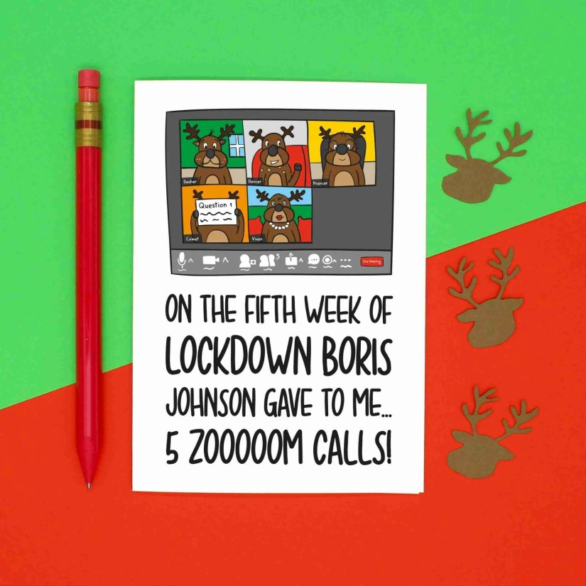 Pun Christmas Card, 12 Days of Christmas, 12 Weeks of Lockdown, Funny Card, Lockdown Card, Team Meeting Card, TeePee Creations, Confetti Card, Zoom Quiz Call Card, Work Colleague Card, Boris Johnson Card, Social Distancing, Reindeer Card