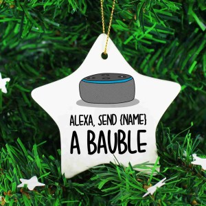 Funny Bauble, Christmas Present, Customisable Décor, Alexa Send Ornament, TeePee Creations, Technology Lover, Technophobe Gift, For Mum or Dad, Stocking Filler, Alexa Command, Nerd Tree Hanger, IT Lover, Personalised Gift