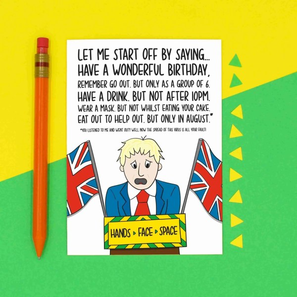 Boris Johnson Card Funny Birthday Hands Face Space Socialising In 6 Eat Out To Help September Speech Lockdown Humour TeePee Creations Confetti Topical Greetings Mask Pun Social Distancing Quarantine Joke