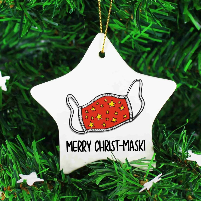 Funny Bauble, Social Distancing, Merry Christ-Mask, Lockdown Gift, Mask Pun Decor, Self Isolation, TeePee Creations, Star Shape Bauble, Ceramic Decoration, Tree Ornament, Stocking Filler, Topical Gift, Christmas Gift