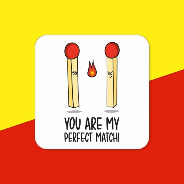 Funny Pun Gift Perfect Match Valentines Day Anniversary Token Just Because Boyfriend Present For Girlfriend Husband Wife Love Partner I You Fire Drawing Cute Coaster New Home Décor Adorable Sweet