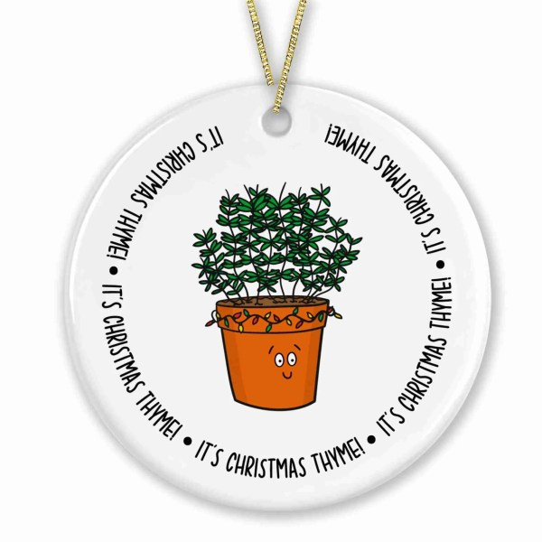 Its Christmas Time, Thyme Herb Pun, TeePee Creations, Star Shaped Bauble, Ceramic Decoration, Tree Ornament, Stocking Filler, Xmas Present, Secret Santa, Foodie Illustration, Chef Cook, Funny Drawing, Cute Plant