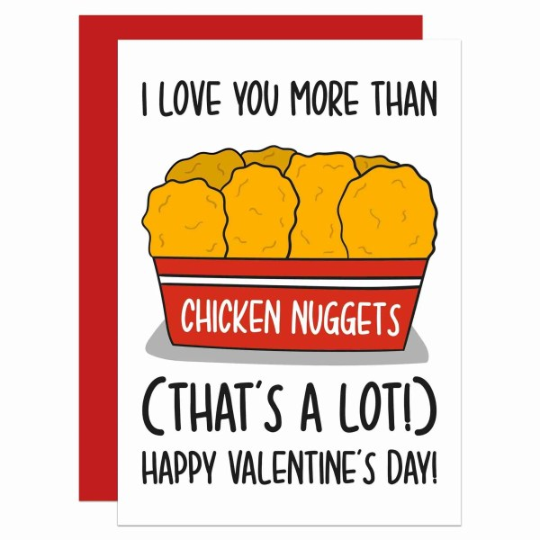 TeePee Creations Confetti Card Valentines Day Card Funny Pun Nuggets Joke Chicken Love You More Boyfriend Girlfriend Food Gift Other Half Present Junk Takeaway Lover