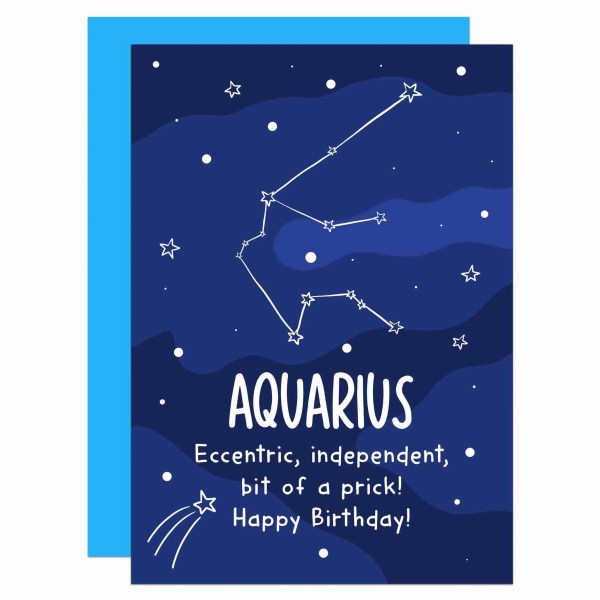 """Greetings card with Aquarius constellation illustration and the phrase """"Eccentric, independent, bit of a prick!"""" on the front."""