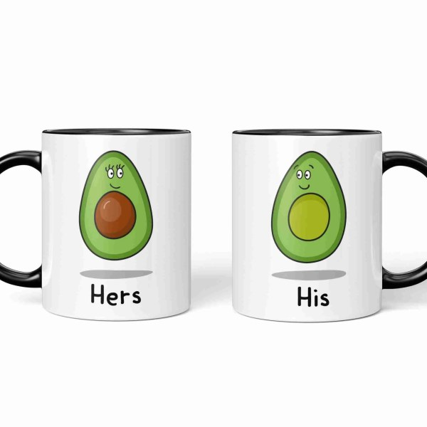 Valentines Day Anniversary Gift Mug Pun Millennial Avocado Illustration Boyfriend Girlfriend Husband Wife Other Half Gift TeePee Creations Couples His Hers Present Food Humour Funny Fruit Cute Adorable Vegetarian Vegan Partner