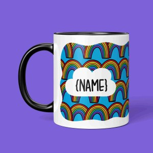 TeePee Creations Birthday Present Mug Customisable Gift Personalised Rainbow Pattern Cute Cloud Bright Colours Positive Best Friend Stocking Filler Stripey Happy Pick Me Up