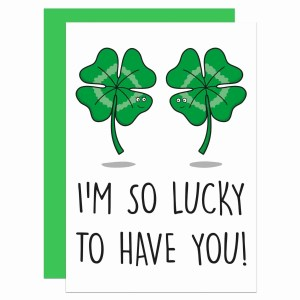 TP Creations, Valentines Day Card, Anniversary Card, Confetti Card, Lucky To Have You, Clover Pun Card, Just Because Card, Cute Love Card, Card for Boyfriend, Card for Girlfriend, Funny Love Card, Lucky Charm Card, Four Leaf Clover