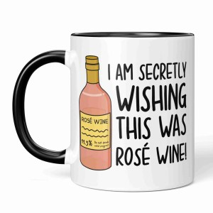 Funny Pun Mug TeePee Creations Rose Wine Lover Mothers Day Gift Step Mum Present Wishing Birthday Present Secretly Wish Alcohol Joke Zoom Call Present Working From Home New Job Video Meeting